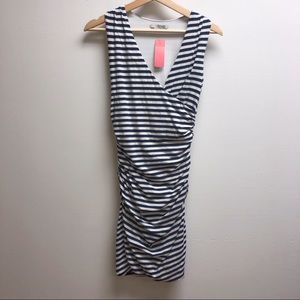 Boden 4p Navy and white striped dress